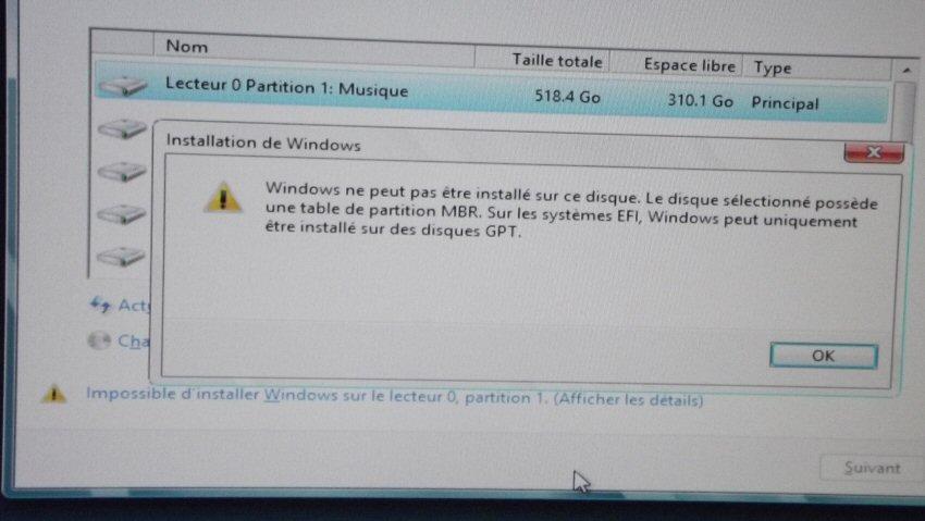Windows peut pas etre installer sur ce disque Windows ne peut pas être installé sur ce disque - Convertir disque dur MBR en GPT