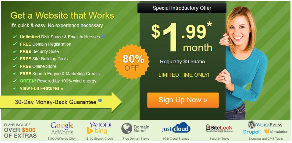 Hebergement iPage Hébergement+Nom de domaine à 1,99$/mois : créer votre siteweb maintenant