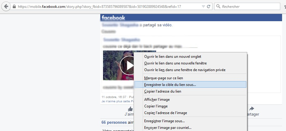 Enregistrer une video Facebook