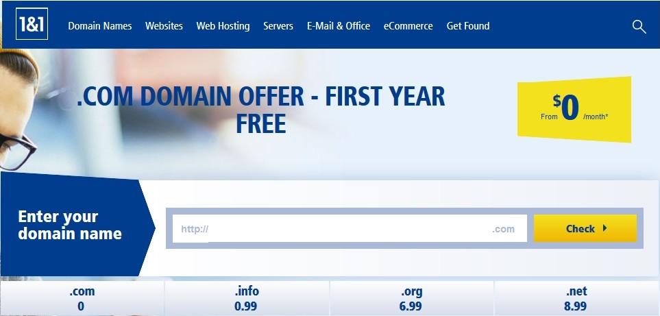 NDD .COM gratuit 1and1 Obtenir un nom de domaine .COM gratuit sur 1and1.com