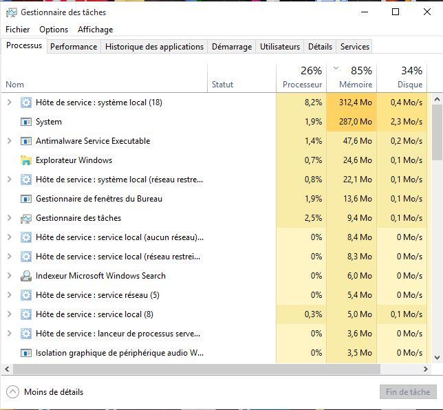 Windows 10 RAM saturee