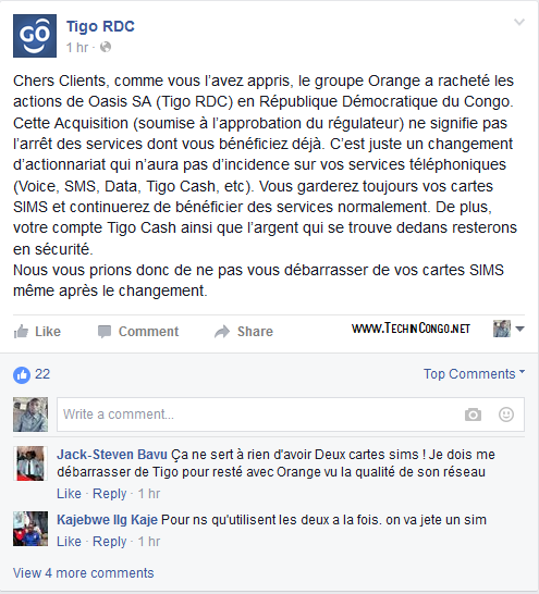 Message de Tigo RDC sur le rachat par Orange