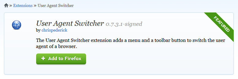 User Agent Switcher pour Firefox