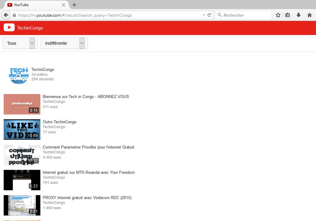 YouTube en version mobile