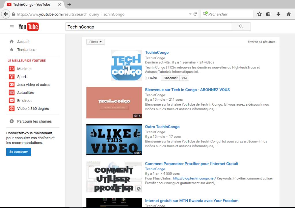 YouTube en version PC