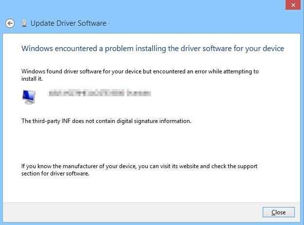 Installer pilotes sans signature windows 10