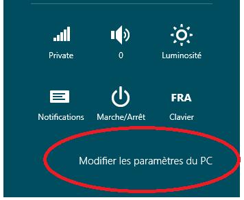Parametres Windows 8