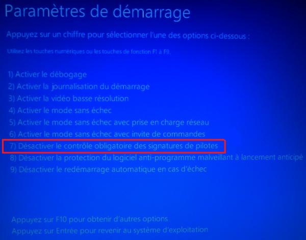 Parametres de demarrage Windows 10