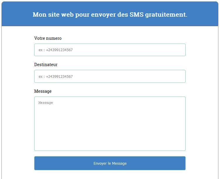 Formulaire pour envoyer SMS