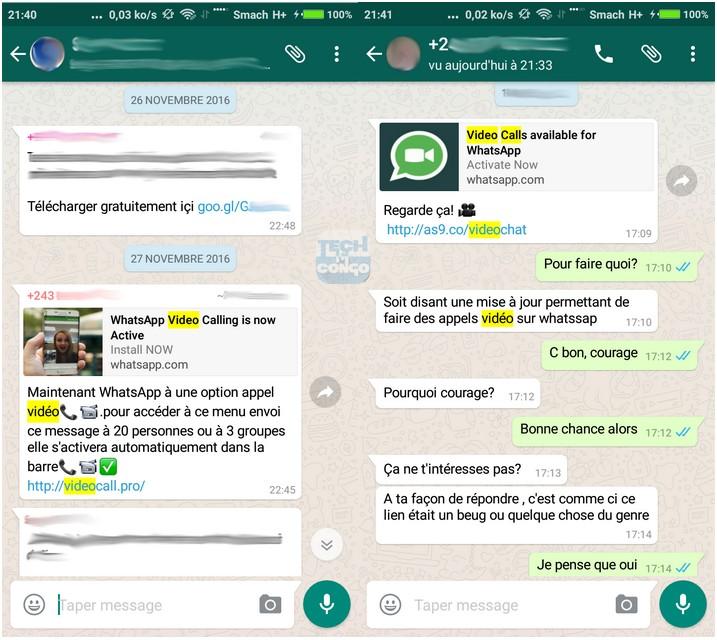 Faux WhatsApp Video Attention ! Ne Cliquez pas sur le faux lien pour installer les appels vidéo WhatsApp
